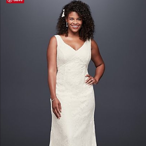 David's Bridal Dresses & Skirts - Galina V-neck Plus Size Empire Waist Wedding Dress